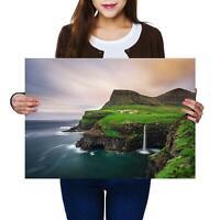 A2 | Waterfall Faroe Islands Denmark - Size A2 Poster Print Photo Art Gift #2739