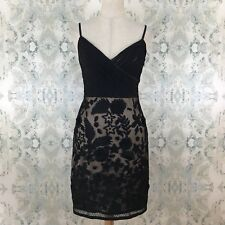 d2a21a7fdc2 Sue Wong Black Lace Embroidered Floral Cocktail Party Dress 4 Small