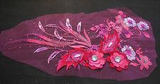 De Lujo Grande un. Rosa & Rose Pink De Lentejuelas Perlas Encaje Floral applique/lace Motif