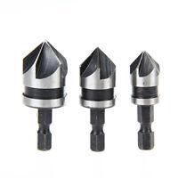 3Pcs 90°Hex 5 Flute Countersink Drill Bit Set Counter Sink Chamfer Cutter 12-19m