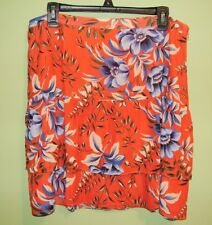 NWT $59 Ann Taylor Loft Tangerine Foral Print Tiered Flippy Skirt 14