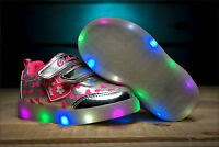 Girls Trainers LED Light Up Shoes Metallic Size 4.5 - 7.5