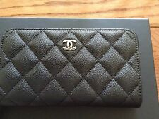 CHANEL 2017 Black Caviar Small Zip Compact Wallet Coin Purse Card CaseHolder