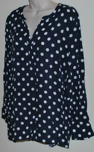 Sussan long-sleeved navy & white polka dot shirt/blouse Size 14