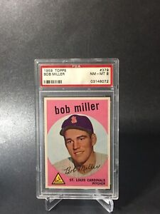1959 TOPPS  # 379 BOB MILLER PSA 8
