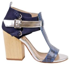 Elizabeth and James Navy Colorblock Sandals Chunky Hill Snake Print 10 NEW $350