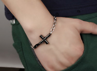 Bracciale Braccialetto Acciaio Rosario Crocifisso Croce Uomo Donna Unisex Catena