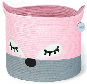 Cute Cotton Rope Storage Baskets - Pink Fox Woven Baby Laundry Basket for Animal