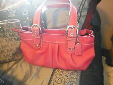 Authentic Coach Soho Leather Satchel Shoulder Bag dark pink No. J0973 F13732