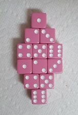 Dice Sale - 16mm Squared Opaque Pink with White Pips! One Dozen! Pretty in Pink