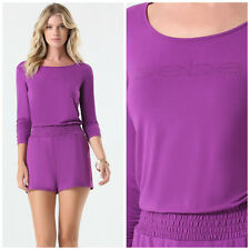 BEBE PURPLE RUCHED LOGO ROMPER JUMPSUIT NEW NWT SMALL S