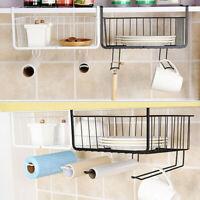 Storage Basket Rack Under Shelf Cabinet Wire Organizer Holder for Kitchen Desk