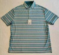 New Men's Hickey Freeman Golf Polo Shirt XL Green Red Stripes $94 PGA Polyester