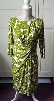 Tropical Summer Print Mock Wrap over Dress Size 14