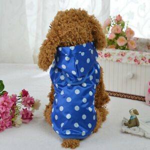 Waterproof Pet Dog Raincoat Hoodie Jacket Dots Puppy Cat Rain Coat Clothes S-XL