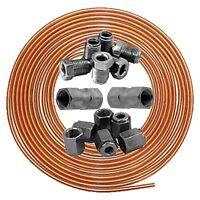 "Classic Car 3/16"" Copper Brake Pipe Line 25ft Male Female 3/8"" Nuts Ends Unions"