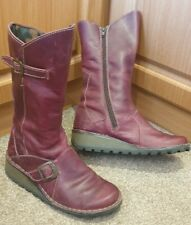 Fly London Leather Boots Size UK 3 Eur 36 Womens Dark Red Boots