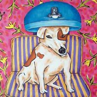 4.25 x 4.25 inch tile jack russell terrier at the salon print on ceramic coaster