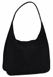 Authentic GUCCI Shoulder Hand Bag Suede Leather 0013167 Black C8149