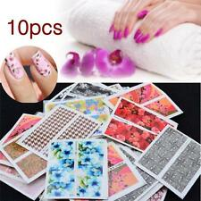 10pc Nail Art Stickers Water Decals Nail Transfers Wraps Flowers Floral Roses GA