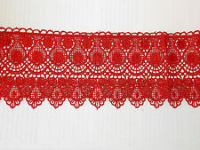 11cm red embroidered guipure lace bridal wedding dress prom trim veil net