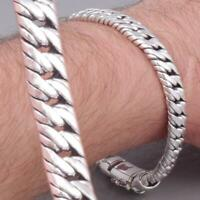 6mm DOUBLE CURB LINK CHAIN 925 STERLING SILVER MENS BRACELET 7.7 8 8.5 9 10""