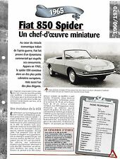 VOITURE FIAT 850 SPIDER FICHE TECHNIQUE AUTO 1965 COLLECTION CAR FRANCE