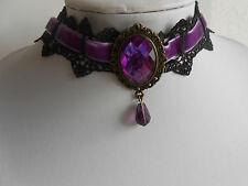 Halsband lila Gothic Steampunk Trachtenhalsband mit Samt + Spitze gearbeitet K2