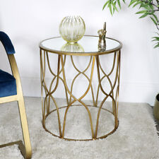 Gold Mirrored Side Table ornate vintage art deco modern luxurious home decor