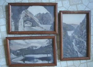 3 Vintage Framed Over-Sized Postcards Copyrighted F. J. Hiscock Cody Wyoming