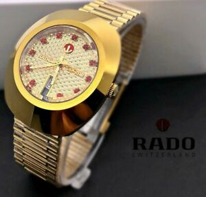 Vintage Rado Diastar Automatic 36 MM Gold Plated Red Diamond Men's Wrist Watch