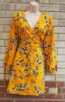 PRIMARK YELLOW FLORAL BUTTON WRAP BELTED LONG SLEEVE A LINE TEA DRESS 12 M