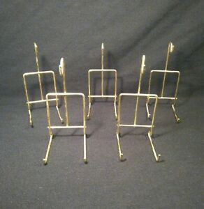 """Set Of 5 Tea Cup and Saucer Display Stand Teacup Holder 6"""" Brass Plated Wire"""