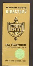 Souvenir Travel Brochure Master Hosts Hotel Directory Spring and Summer 1961