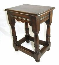 PETITE Antique Carved Oak Joint Stool Occasional / Coffee Table  Lamp Stand (57)