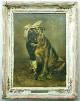 Antique Painting BULLDOG Large Original Oil on Canvas Vintage Bull Dog Portrait