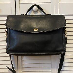 Vintage COACH Lexington Black Leather Briefcase Brass Hardware #5265 Hungary