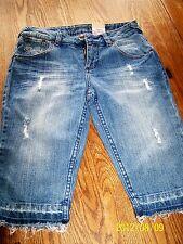 Girls Arizona Jean Company Shorts 14 Slim Adjustable Waist New Frayed Blue Long