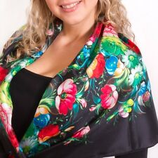 Black Silk Pavlovo Posad Style Shawl with Floral Print 36x36''