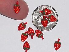 3 Pc Miniature dollhouse tiny little craft Flatback crystal strawberry fruit 5mm