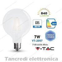 Lampadina led V-TAC 7W E27 bianco freddo 6400K VT-2057 G95 bianca filamento bulb