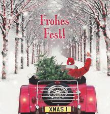 quadratische Postkarte: Weihnachtsmann in Weihnachtscabrio in Winter- Baumalle