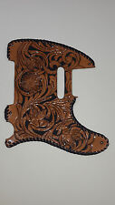 "Leather pick guard Custom Hand Tooled Leather Telecaster  ""Floral Riffs"" Laced d"