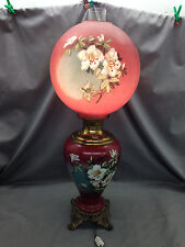 Victorian Vintage Gone w/ the Wind Lamp Wine Background Painted Floral Parlor