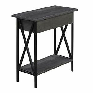 Convenience Concepts Tucson Flip Top End Table with Charging Station and Shel...
