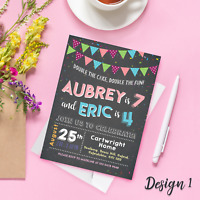 Personalised Childrens Kids Joint Birthday Party Invitations & Thank You Cards