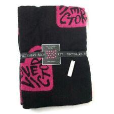 VICTORIA'S SECRET 50 X 60 Soft Blanket Throw Black Pink Heart Love Victoria $68