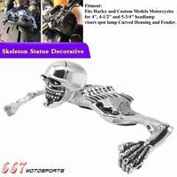 Chrome Highway Hawk Skull Ornament Headlight Visor Skeleton For Harley Bobber