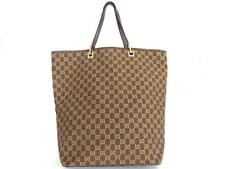 Authentic GUCCI Original GG Canvas Leather Dark Brown Large Tote Bag