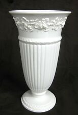"Large 11"" Wedgewood Queen's Ware Cream Vase w/ Grapevine & Leaf Pattern"